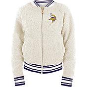 New Era Women's Minnesota Vikings Sherpa White Full-Zip Jacket