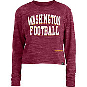 New Era Women's Washington Football Team Space Dye Red Long Sleeve Crop Top T-Shirt
