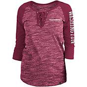 New Era Women's Washington Football Team Space Dye Lace Red Raglan Shirt