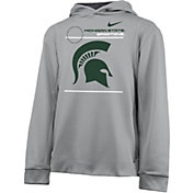 Nike Youth Michigan State Spartans Grey Therma Football Sideline Pullover Hoodie