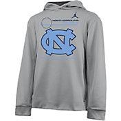 Nike Youth North Carolina Tar Heels Grey Therma Football Sideline Pullover Hoodie