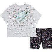 Nike Little Girls' Swoosh Sprinkle T-Shirt and Biker Shorts Set