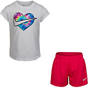 Nike Little Girls' Tie Dye Heart T-Shirt and Shorts Set