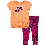 Nike Toddler Bubble Top and Zebra Print Leggings Set