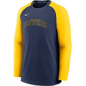 Nike Men's Milwaukee Brewers Navy Authentic Collection Pre-Game Long Sleeve T-Shirt