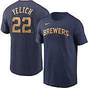 Nike Men's Milwaukee Brewers Christian Yelich #22 Navy T-Shirt