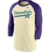 Nike Men's Arizona Diamondbacks Cream Cooperstown Raglan Three-Quarter Sleeve Shirt