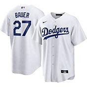 Nike Men's Los Angeles Dodgers Trevor Bauer #27 White Cool Base Jersey