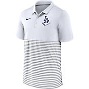 Nike Men's Los Angeles Dodgers Stripe Brown Polo