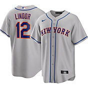 Nike Men's New York Mets Francisco Lindor #12 Grey Cool Base Replica Jersey