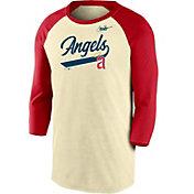 Nike Men's Los Angeles Angels Cream Cooperstown Raglan Three-Quarter Sleeve Shirt