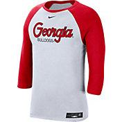 Nike Men's Georgia Bulldogs White Dri-FIT ¾ Sleeve Baseball T-Shirt