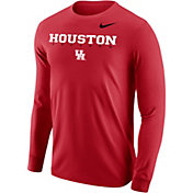 Nike Men's Houston Cougars Red Core Cotton Graphic Long Sleeve T-Shirt