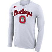 Nike Men's Ohio State Buckeyes Basketball Retro Script Dri-FIT Long Sleeve White T-Shirt