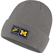 Nike Men's Michigan Wolverines Grey Cuffed Knit Beanie