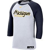 Nike Men's Michigan Wolverines White Dri-FIT ¾ Sleeve Baseball T-Shirt