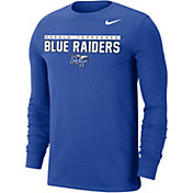 Nike Men's Middle Tennessee State Blue Raiders Blue Dri-FIT Cotton Long Sleeve T-Shirt