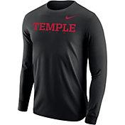 Nike Men's Temple Owls Core Cotton Graphic Black Long Sleeve T-Shirt