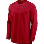 Nike Men's Tampa Bay Buccaneers Sideline Coach Half-Zip Red Pullover