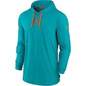 Nike Men's Miami Dolphins Sideline Dri-FIT Hooded Long Sleeve Aqua T-Shirt