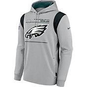 Nike Men's Philadelphia Eagles Sideline Therma-FIT Silver Pullover Hoodie