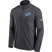 Nike Men's Detroit Lions Logo Pacer Grey Half-Zip Pullover