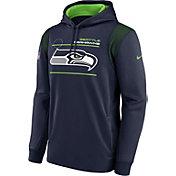 Nike Men's Seattle Seahawks Sideline Therma-FIT Navy Pullover Hoodie