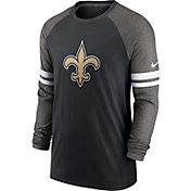 Nike Men's New Orleans Saints Dri-FIT Black Long Sleeve Raglan T-Shirt