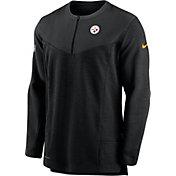 Nike Men's Pittsburgh Steelers Sideline Coach Half-Zip Black Pullover