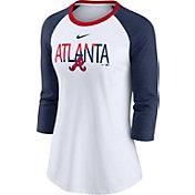 Nike Women's Atlanta Braves Red Raglan Three-Quarter Sleeve Shirt