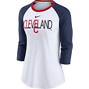Nike Women's Cleveland Indians Red Raglan Three-Quarter Sleeve Shirt