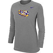 Nike Women's LSU Tigers Grey Dri-FIT Cotton Long Sleeve T-Shirt