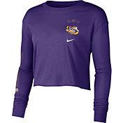 Nike Women's LSU Tigers Purple Long Sleeve Crop Sweatshirt