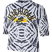 Nike Women's Michigan Wolverines White Tie-Dye Boxy Festival T-Shirt