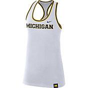 Nike Women's Michigan Wolverines Dri-FIT Cotton Racer White Tank Top