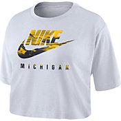 Nike Women's Michigan Wolverines Spring Break Cropped White T-Shirt