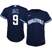 Nike Youth Chicago Cubs Javier Báez #9 Navy 2021 City Connect Cool Base Jersey