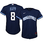 Nike Youth Chicago Cubs Ian Happ #8 Navy 2021 City Connect Cool Base Jersey