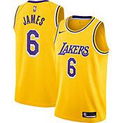 Nike Youth Los Angeles Lakers LeBron James #6 Yellow Dri-FIT Swingman Jersey