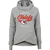 NFL Team Apparel Girls' Kansas City Chiefs Heather Grey Pullover Hoodie