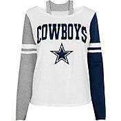 NFL Team Apparel Girl's Dallas Cowboys White Long Sleeve T-Shirt
