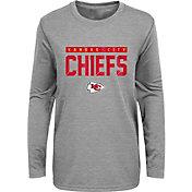 NFL Team Apparel Youth Kansas City Chiefs Charcoal Grey Heather Training Camp Long Sleeve Shirt