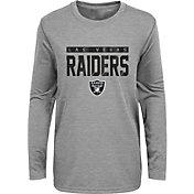 NFL Team Apparel Youth Las Vegas Raiders Charcoal Grey Heather Training Camp Long Sleeve Shirt