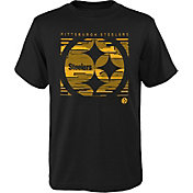 NFL Team Apparel Youth Pittsburgh Steelers Scatter Black T-Shirt