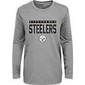 NFL Team Apparel Youth Pittsburgh Steelers Charcoal Grey Heather Training Camp Long Sleeve Shirt