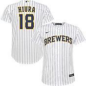 Nike Youth Milwaukee Brewers Keston Hiura #18 White Replica Jersey