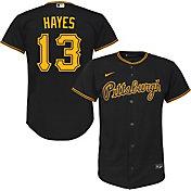 Nike Youth Replica Pittsburgh Pirates Ke'Bryan Hayes #13 Cool Base Black Jersey
