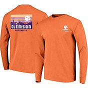 Image One Men's Clemson Tigers Orange Campus Skyline Long Sleeve T-Shirt