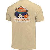 Image One Clemson Tigers White Landscape Badge T-Shirt