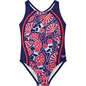 Speedo Girl's Printed Sport Splice One Piece Swimsuit